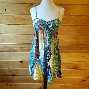 BCBGMaxAzria Boho Silk Patchwork Mini Dress Sz 2