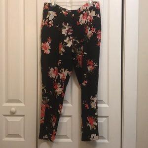 LOFT black and floral dress pant