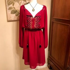 Altuzarra Boho Red Peasant Dress with Embroidery
