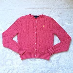 Pink Ralph Lauren Cable Knit Cardigan Sweater