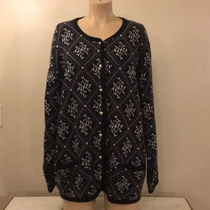 Vintage Plus Size Black Knit Snowflake Cardigan