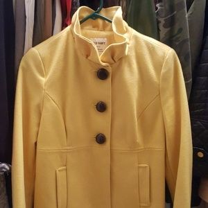 Yellow waist length peacoat