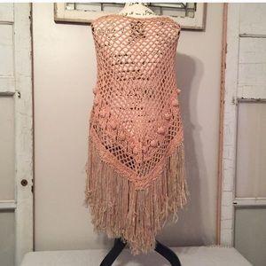 Vintage 70s Boho Crochet Shawl
