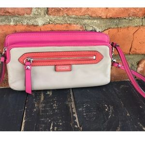 Coach Emma sand beige pink coral leather wallet