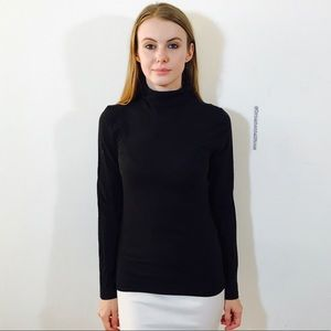 J. CREW TURTLENECK BLACK TISSUE T COTTON M
