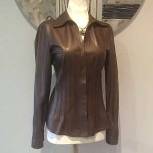 Lafayette 148 New York Brown Leather Blouse 0