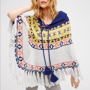 FREE PEOPLE high life fair isle poncho sweater