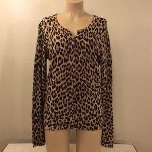 Sweaters - Designer Leopard Print Cashmere Button Cardigan