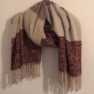 Red, Cream and Tan Oversized Scarf
