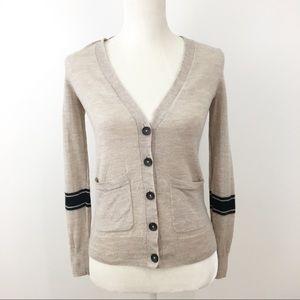 Madewell wool cardigan oatmeal navy pockets XS