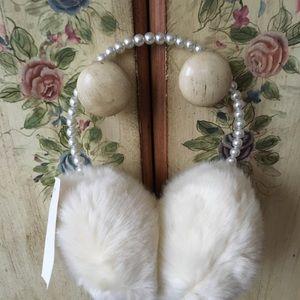 NWT Icing Earmuffs White Faux Fur Pearl Hairband