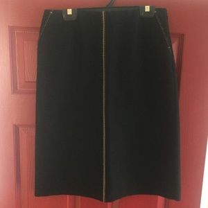 J. Crew Black & Tan Wool Skirt with Pockets