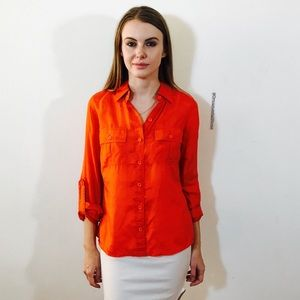 GO SILK ANTHROPOLOGIE SILK ORANGE SHIRT BUTTON