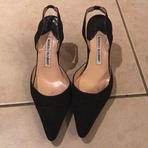 Black Slingback Kitten Manolo Blahnik Heels