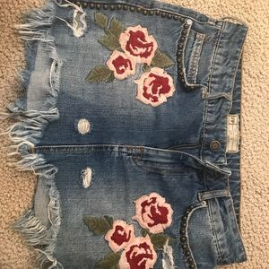 Embroidered Free People Jean Skirt