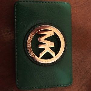 Michael Kors green and gold leather wallet