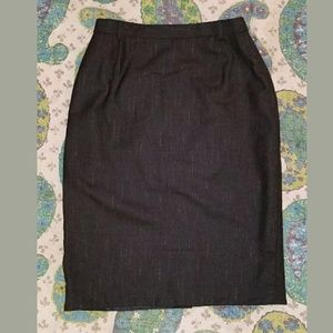 Vintage ESCADA grey pencil skirt metallic stripe