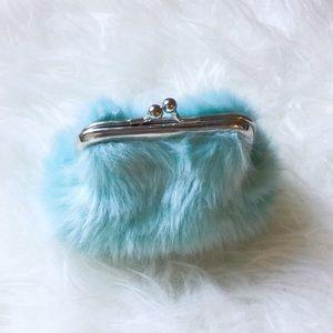Blue teal furry purse bag