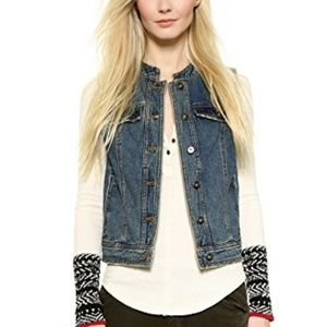 Free People Rugged Ripped Denim Lace Up Vest M