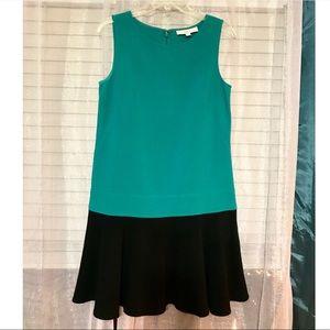 💟LOFT Black and Blue Sz 4 Ruffled Mini Dress MINT