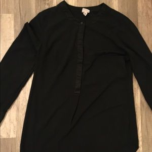 Merona black silk blouse M