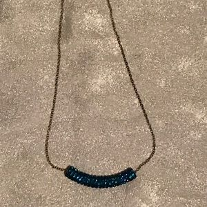 Turquoise pave crystal handmade necklace