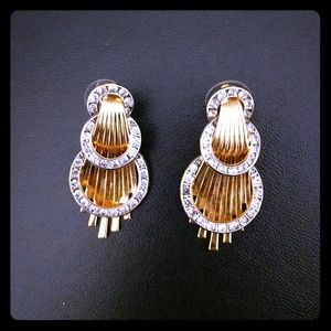 Unique Vintage Gold-toned Wave Earrings with CZ's