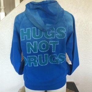 Hugs Not Drugs Blue Zip Front Hoody Sweatshirt Sm