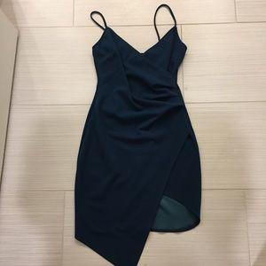 Windsor teal asymmetrical dress