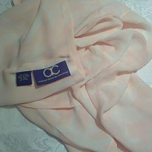 Vintage Anne Bowen soft peach floral square scarf