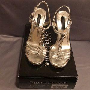 "WHBM ""Laurel"" Silver with Rhinestones Size 9"