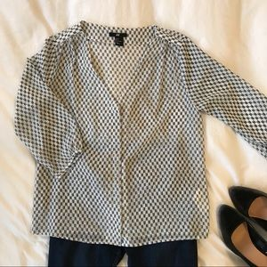 White Blouse With Navy Print