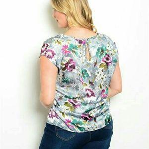 New Junior's Cute magenta/green floral Print Plus
