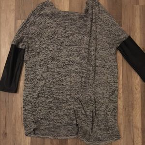 H and M black and white knit top leather sleeves