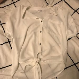 Boutique front tie blouse shirt