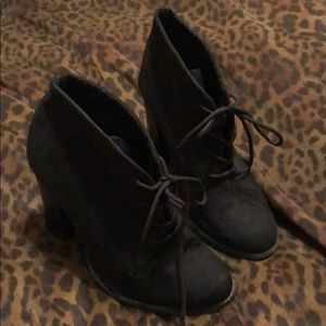Black Suede Old Navy Lace Up Heeled Boots
