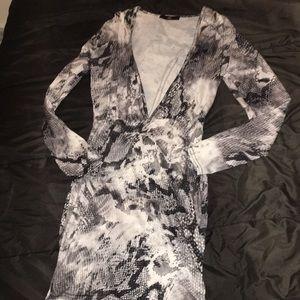 MISSGUIDED Grey Slinky Snake Plunge BodyCon Dress
