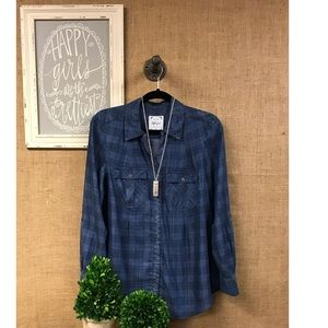 Style & Co plaid chambray top