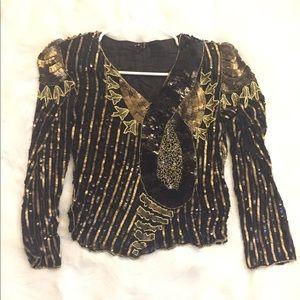 Vintage 80's Royal feelings Beaded blouse