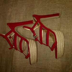 red Qupid heels, size 10