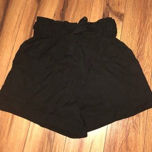 Black h&m tie up shorts. New with tags