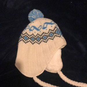 Softer Fleeze Winter Hat Pom Knit blue white