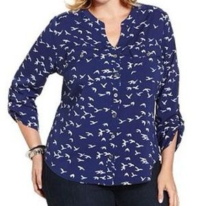 Button-front V-Neck Shirt in Bird Print