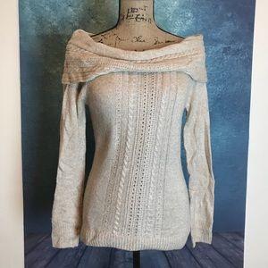 WHBM Open Cowl Shoulder Sweater Tan wool S