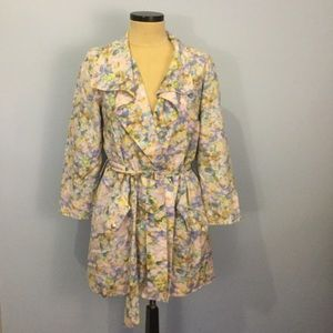 Cynthia Steffe 6 Belted Silk Trench Coat Floral