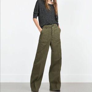 ZARA high waist wide leg army green pants