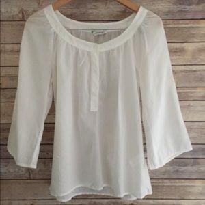 Banana Republic white semi sheer cotton blouse
