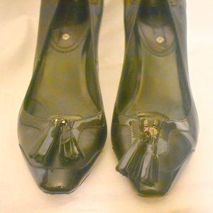 AUTHENTIC CELiNE black patent heels pumps 40 9.5