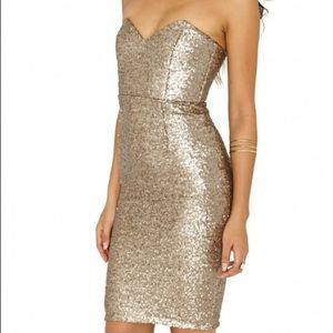 Misguided Sweetheart Neckline Gold Sequin Dress