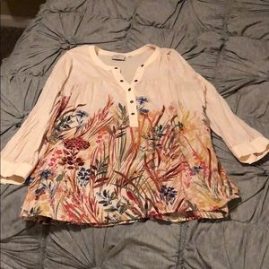 Anthropologie Floral Cotton Top